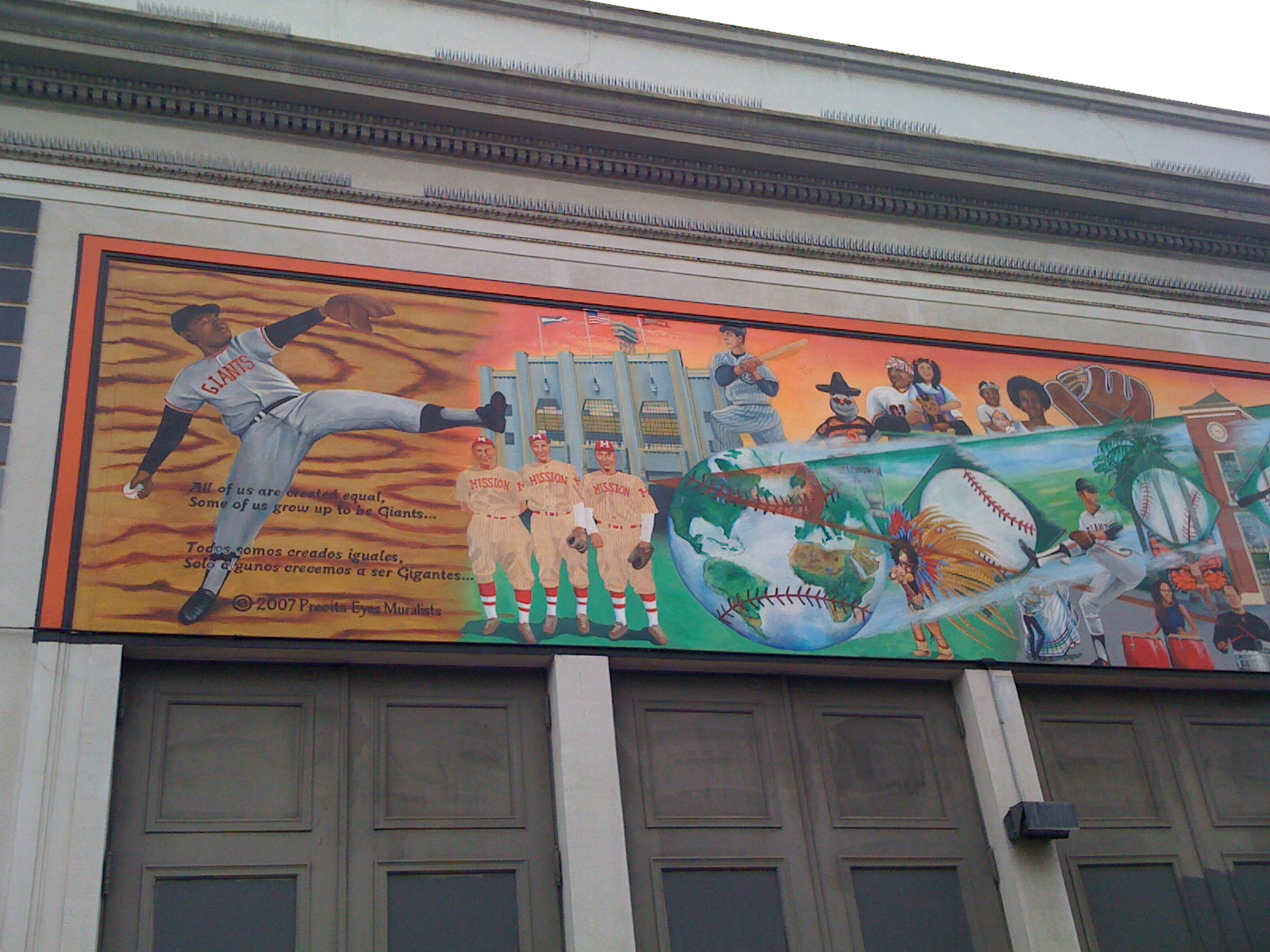 honoring the history of bay area baseball ninety feet of i personally like the mural because on the left side they included seals stadium joe dimaggio in a seals uniform and 3 players in mission reds uniforms