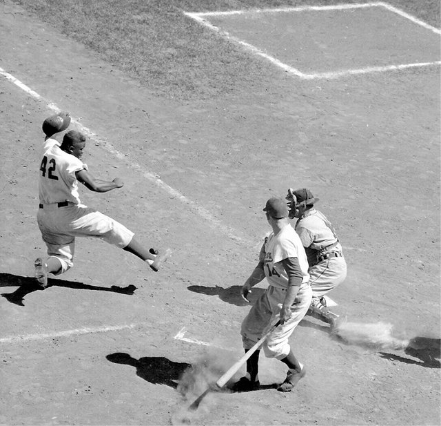 Jackie Robinson Stealing Bases