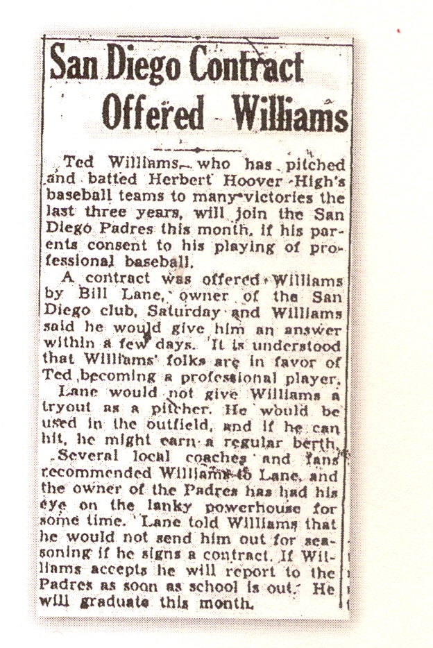 Ted williams signed to the san diego padres of the old pacific coast