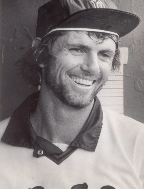 bill lee clowning around in the dugout.