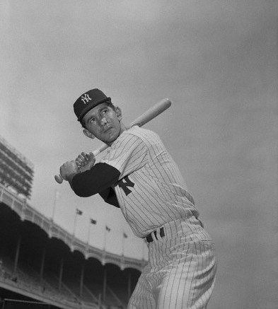 Baseball Great Billy Martin in Batting Position