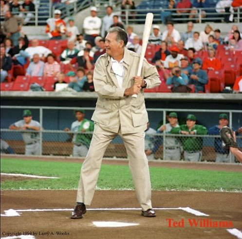 Ted Williams, Visited Sec Taylor Stadium in Des Moines, IA. in 1994