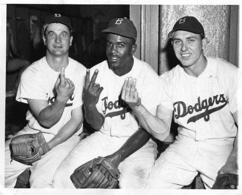 Gene Hermanski, Jackie Robinson and Gil Hodges