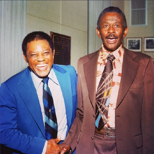 Willie Mays and Satchel Paige